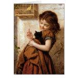 Girl, Kitty Cat & Bird - Vintage Painting Greeting Card