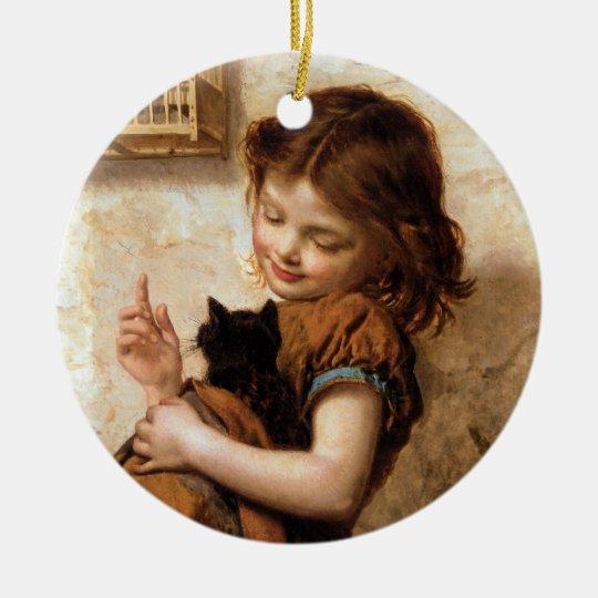 Girl, Kitty Cat & Bird - Vintage Painting Ceramic Ornament