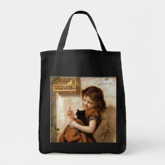Girl, Kitty Cat & Bird - Vintage Painting Grocery Tote Bag