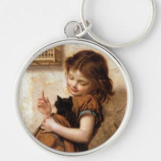 Girl, Kitty Cat & Bird - Vintage Painting Key Chain