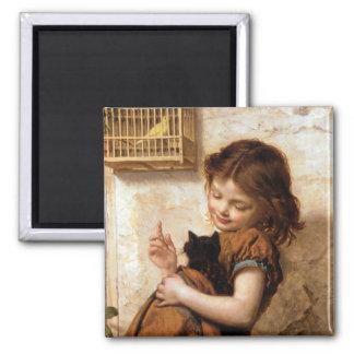 Girl, Kitty Cat & Bird - Vintage Painting Magnet