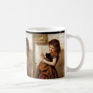 Girl, Kitty Cat & Bird - Vintage Painting Mugs