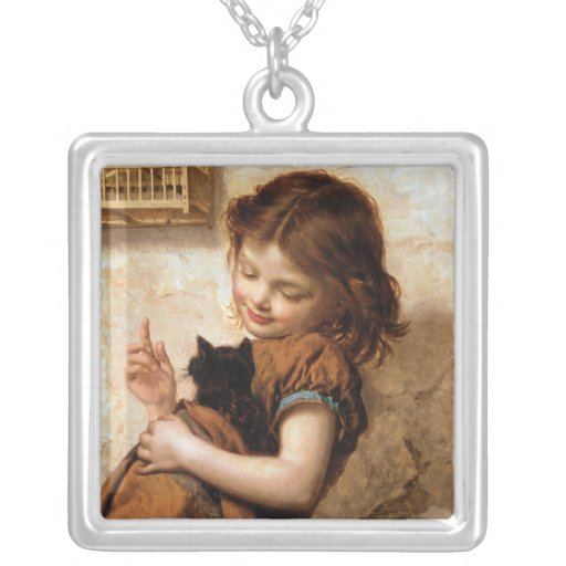Girl, Kitty Cat & Bird - Vintage Painting Pendant