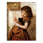 Girl, Kitty Cat & Bird - Vintage Painting Postcard