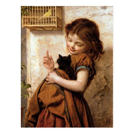 Girl Kitty Cat Amp Bird Vintage Painting Postcard