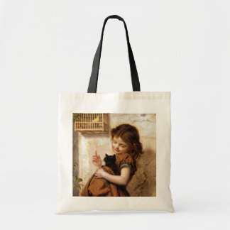 Girl, Kitty Cat & Bird - Vintage Painting Tote Bag
