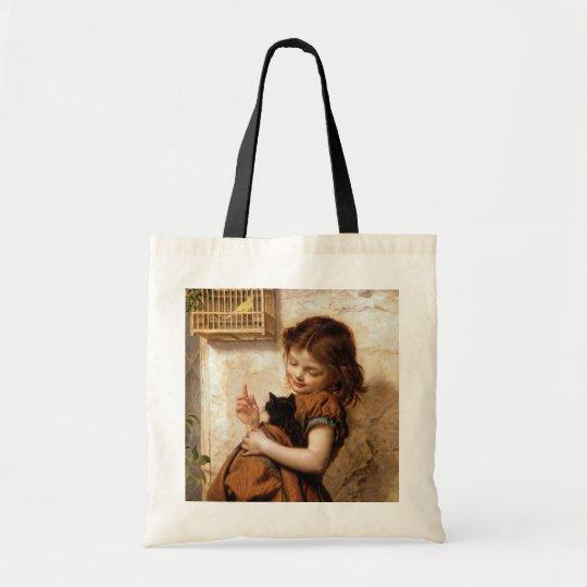 Girl, Kitty Cat & Bird - Vintage Painting Tote Bag