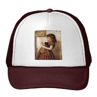 Girl, Kitty Cat & Bird - Vintage Painting Trucker Hat
