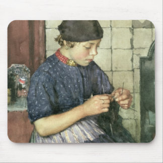 Girl Knitting Mouse Pad