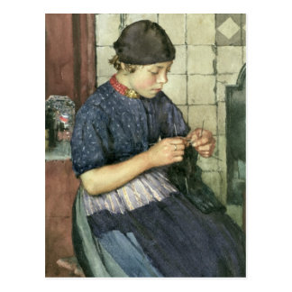 Girl Knitting Postcard