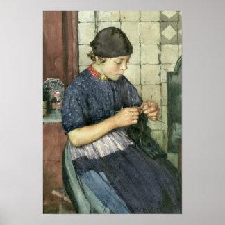 Girl Knitting Print