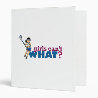 Girl Lacrosse Player Blue Uniform 3 Ring Binder