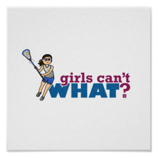 Girl Lacrosse Player Blue Uniform Posters