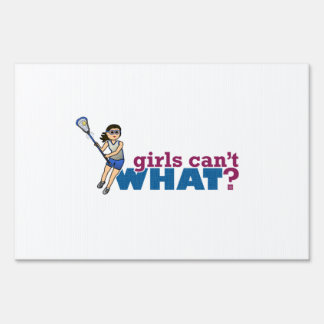 Girl Lacrosse Player Blue Uniform Yard Signs