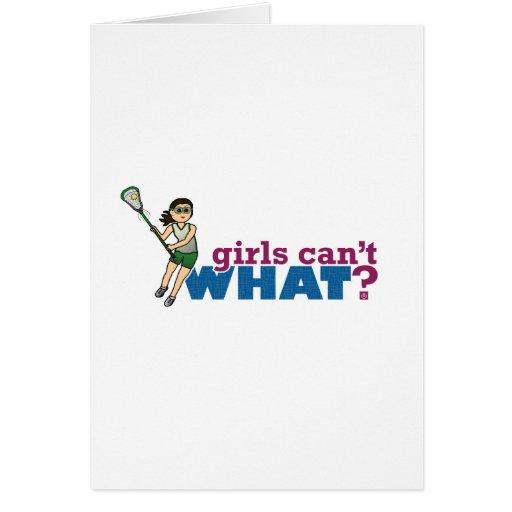 Girl Lacrosse Player Green Uniform Card
