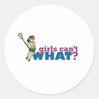 Girl Lacrosse Player Green Uniform Classic Round Sticker