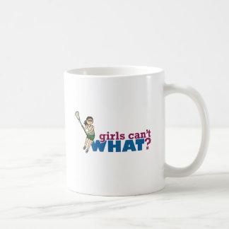 Girl Lacrosse Player Green Uniform Classic White Coffee Mug