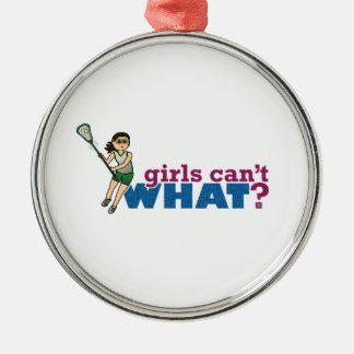 Girl Lacrosse Player Green Uniform Metal Ornament