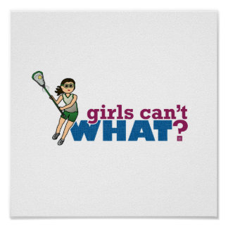 Girl Lacrosse Player Green Uniform Poster
