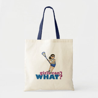 Girl Lacrosse Player in Blue Budget Tote Bag