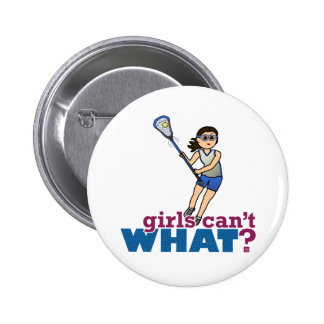 Girl Lacrosse Player in Blue Button