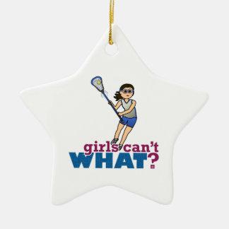 Girl Lacrosse Player in Blue Ceramic Ornament