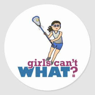 Girl Lacrosse Player in Blue Classic Round Sticker