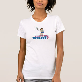 Girl Lacrosse Player in Blue T Shirt