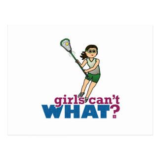 Girl Lacrosse Player in Green Postcard