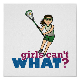 Girl Lacrosse Player in Green Print