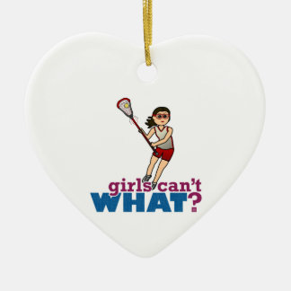 Girl Lacrosse Player in Red Ceramic Ornament