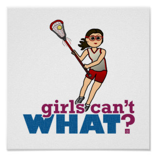 Girl Lacrosse Player in Red Poster