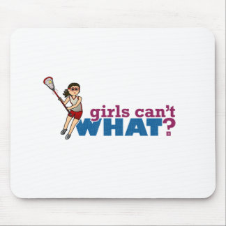 Girl Lacrosse Player Red Uniform Mouse Pad