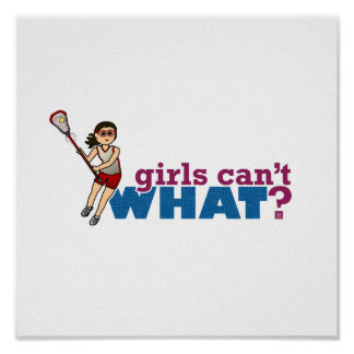 Girl Lacrosse Player Red Uniform Posters