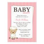 Girl Lamb Baby Shower Pink Stripe Invitations