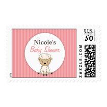 Girl Lamb Baby Shower Pink Stripe Postage