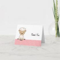 Girl Lamb Baby Shower Pink Stripe Thank You