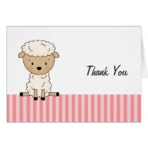 Girl Lamb Baby Shower Pink Stripe Thank You Card