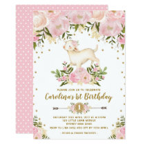 Girl Lamb Birthday Invitation Pink Floral Farm