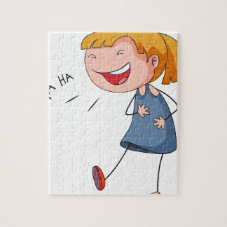 Girl laughing puzzles