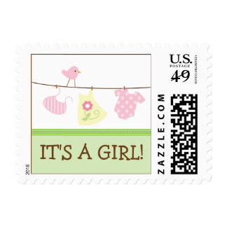 Girl Laundry Baby Announcement Stamp green
