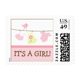 Girl Laundry Baby Announcement Stamp (pink)