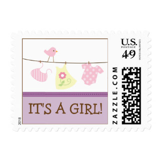 Girl Laundry Baby Announcement Stamp (purple)