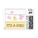 Girl Laundry Baby Announcement Stamp (yellow)