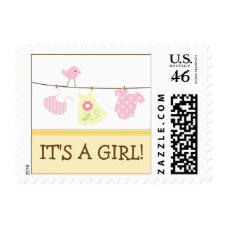 Girl Laundry Baby Announcement Stamp yellow