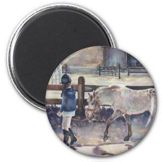 Girl Leading Her Pony Artwork Magnet