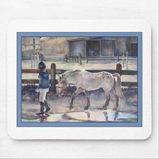 Girl Leading Her Pony Artwork Mouse Pad