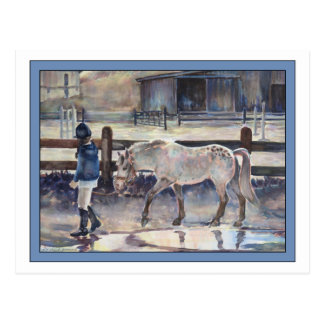 Girl Leading Her Pony Artwork Post Card