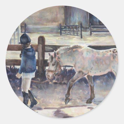 Girl Leading Her Pony Artwork Sticker