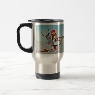 Girl Leading White Reindeer Travel Mug